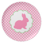 Pink Bunny Silhouette Plate