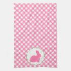 Pink Bunny Silhouette Tea Towel