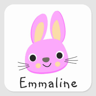 Pink Bunny • Spring + Easter Square Sticker