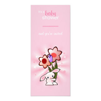 Pink Bunny with Flowers Baby Shower 10 Cm X 24 Cm Invitation Card