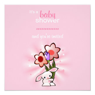 Pink Bunny with Flowers Baby Shower 13 Cm X 13 Cm Square Invitation Card
