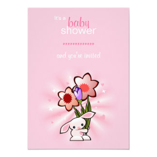 Pink Bunny with Flowers Baby Shower 13 Cm X 18 Cm Invitation Card