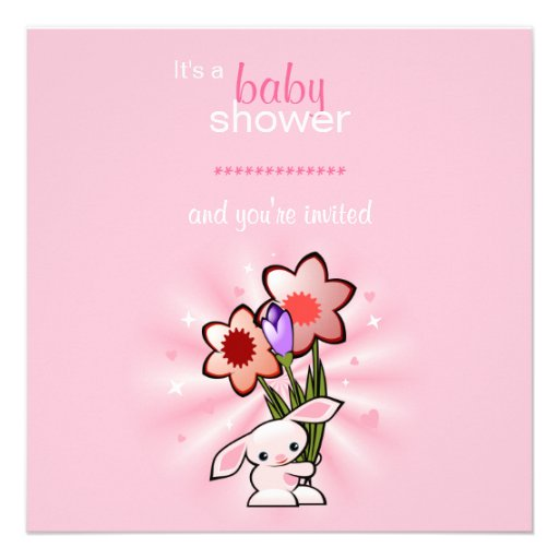 Pink Bunny with Flowers Baby Shower Personalized Invitation