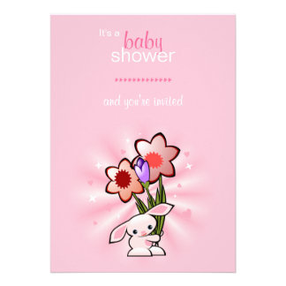 Pink Bunny with Flowers Baby Shower Invite