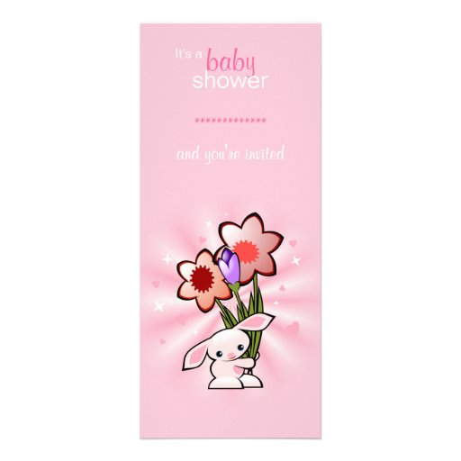 Pink Bunny with Flowers Baby Shower Personalized Invites