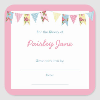 Pink Bunting Baby Shower book Bookplates Square Sticker