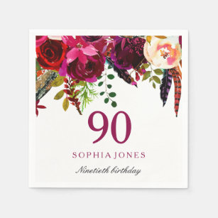 Pink Burgundy Boho Floral 90th Birthday Party Napkin
