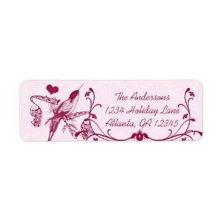 Pink & Burgundy Damask Musical Vintage Hummingbird Return Address Label