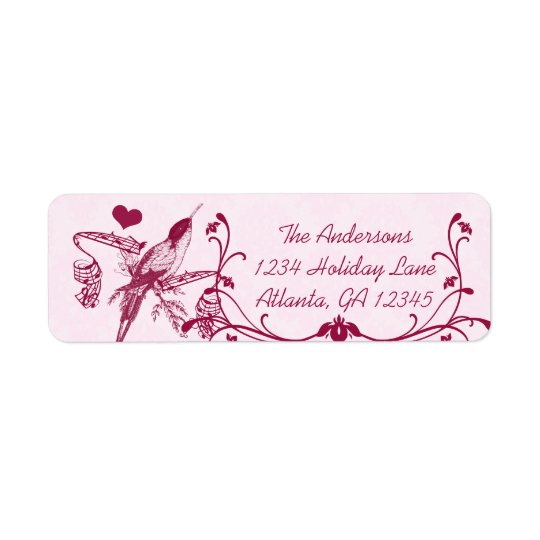 Pink & Burgundy Damask Musical Vintage Hummingbird Return Address Label