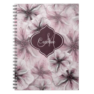 Pink Burgundy Floral Monogram Spiral Notebooks