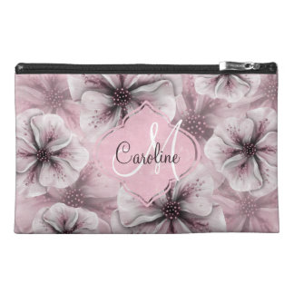 Pink Burgundy  Floral Monogram Travel Accessory Bag