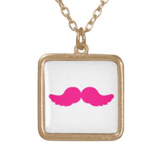 Pink Bushy Mustache Moustache Funny Angel Wings Square Pendant Necklace
