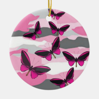 PINK BUTTERFLIES AND CAMO PRINT CERAMIC ORNAMENT