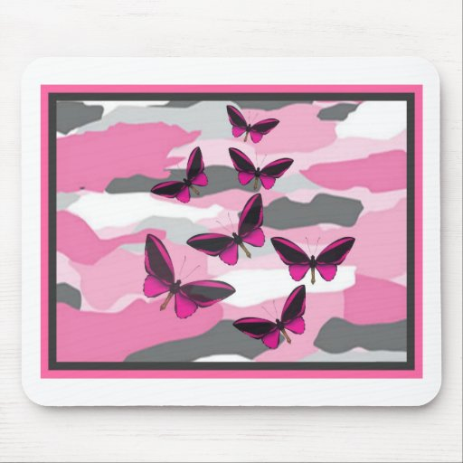 PINK BUTTERFLIES AND CAMO PRINT MOUSEPAD