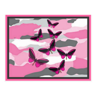 PINK BUTTERFLIES AND CAMO PRINT POST CARDS