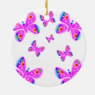 Pink Butterflies Christmas Ornament