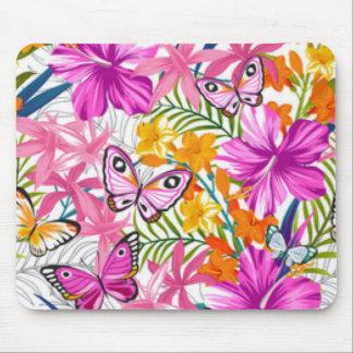 Pink Butterflies Flower Pattern Print Design Mouse Pad