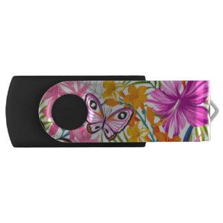 Pink Butterflies Flower Pattern Print Design USB Flash Drive