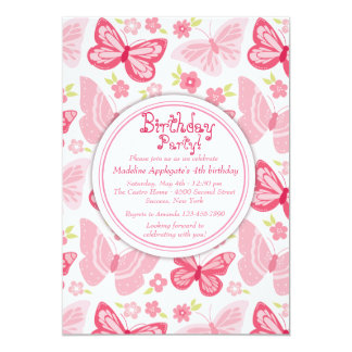 Pink Butterflies Invitation