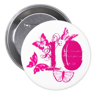 Pink butterflies, pink '10' button age 10.