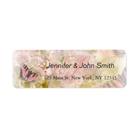 Pink butterflies roses return address label