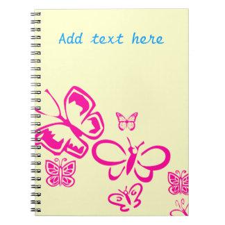 Pink Butterflies Spiral Notebook