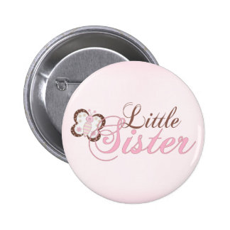 Pink Butterfly 2 Little Sister 6 Cm Round Badge