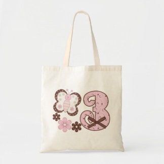 Pink Butterfly 3rd Birthday Tote Bag