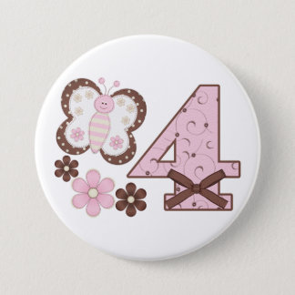 Pink Butterfly 4th Birthday Button