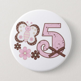Pink Butterfly 5th Birthday Button