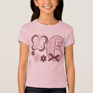 Pink Butterfly 6th Birthday T-Shirt