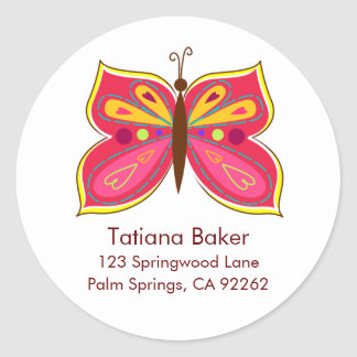 Pink Butterfly Address Labels Round Sticker