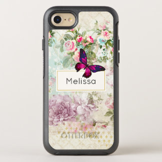 Pink Butterfly and Shabby Vintage Roses Custom OtterBox Symmetry iPhone 8/7 Case