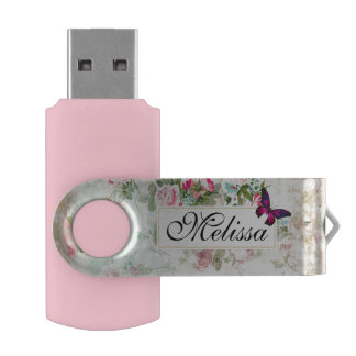 Pink Butterfly and Shabby Vintage Roses Custom USB Flash Drive