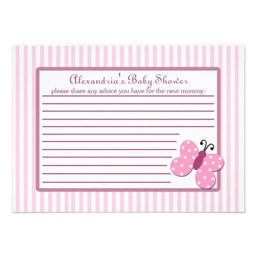Pink Butterfly Baby Shower Advice Card Invite