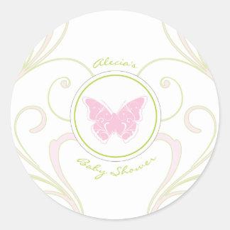 Pink Butterfly Baby Shower Favor Sticker