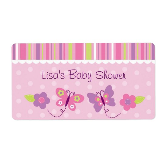 Pink Butterfly Baby Shower Favour Shipping Label