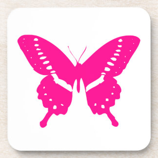 Pink Butterfly Beverage Coasters