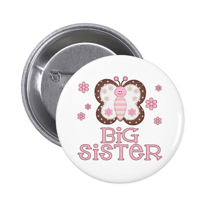 Pink Butterfly Big Sister 6 Cm Round Badge