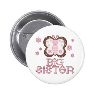 Pink Butterfly Big Sister Button