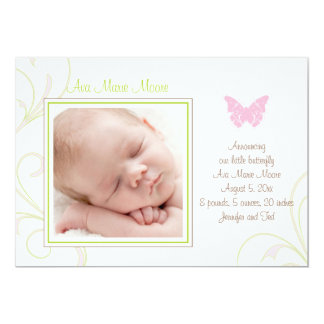 Pink Butterfly Birth Announcement