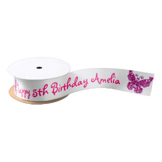 Pink butterfly birthday name ribbon satin ribbon