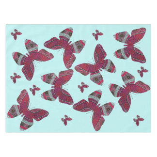 """Pink Butterfly Cotton Tablecloth, 52""""x70"""" Tablecloth"""