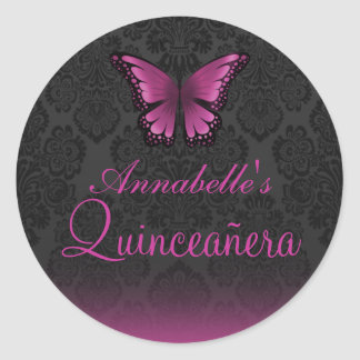Pink Butterfly & Damask Quinceañera Sticker
