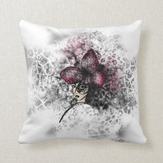 Pink Butterfly Fashionillustration Gothic Style Cushion
