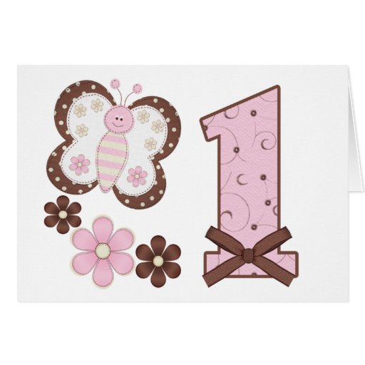 Pink Butterfly First Birthday Invitations Greeting Cards