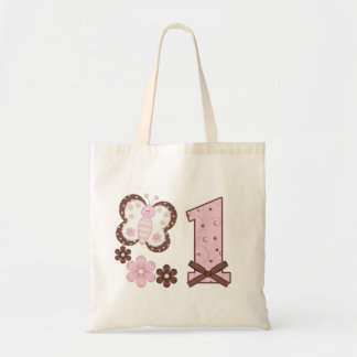 Pink Butterfly First Birthday Tote Bags