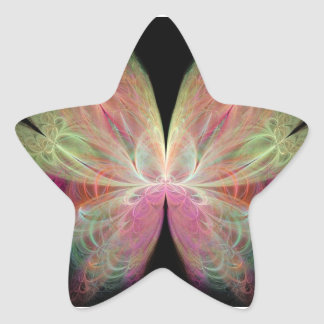 Pink Butterfly Fractal Star Sticker