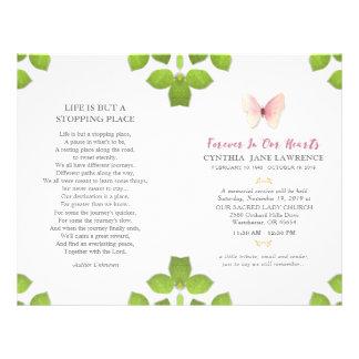 Pink Butterfly Funeral Memorial Service Program 21.5 Cm X 28 Cm Flyer
