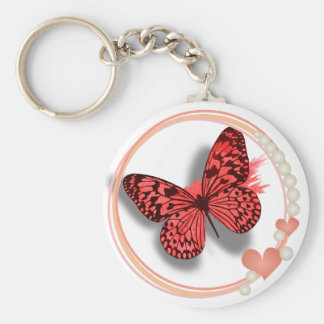 Pink Butterfly & Hearts Pretty Key/bag Chain Basic Round Button Key Ring